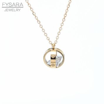 2018 Women Jewelry Love Brand Rose Gold-color Cross Clear Simply Turnable Crystal Small Round Cubic Zirconia Pendant Necklace