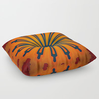 Rich Orange And Navy Blue Flower Mandala Floor Pillow by Sheila Wenzel