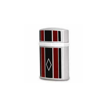 Lotus T3 Satin Chrome With Black And Red Stripes Table Lighter