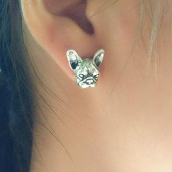 Hippie Chic Antique Silver 3D metal French Bulldog Studs Earrings
