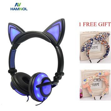 HAMNOL Glowing Light Cat Ear Gaming Headphones Stereo Cat Earphones 3.5mm Wired Gamer Headset for PC Gamer Mobile Phone SP4 XBOX