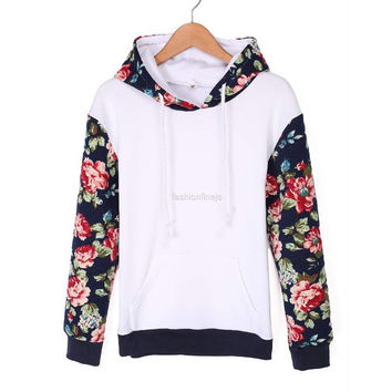 Women Casual Hooded Long Sleeve Patchwork Floral Loose Leisure Sports Hoodie Sweat = 1902700932