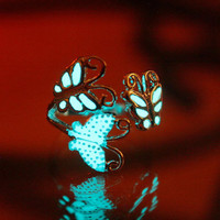 GLOW in the DARK BUTTERFLIES Ring by Papillon9 on Etsy