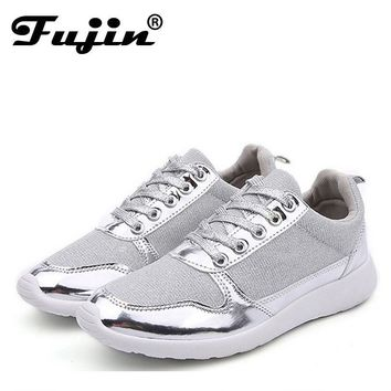 Size 36-41 brand New Chaussure Femme rubber 2017 Women casual shoes Gold Silver mesh w