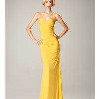 Mignon Spring 2014 Dresses - Yellow Patterned V-Neck Long Prom Dress