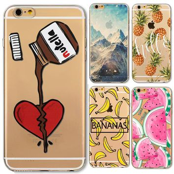 Napeyin Phone Case For Apple iPhone 6 6s 7 Plus 7Plus 5 5S SE Soft Silicon Transparent Cover Landscape Pineapple watermelon Case