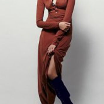 Vintage Solid Color Buttoned Jewel Neck Long Sleeve Maxi Dress For Women