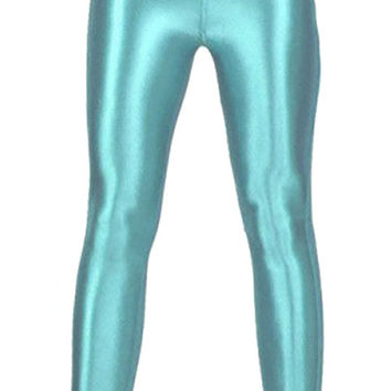 BadAssLeggings Women's Shiny Disco Pants Medium Teal Blue
