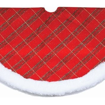 "20"" Glitter Red Green and Gold Plaid Mini Christmas Tree Skirt with White Faux Fur Border"