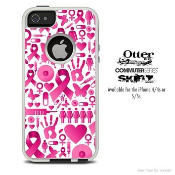 The Pink Ribbon Collage Breast Cancer Awareness Skin For The iPhone 4-4s or 5-5s Otterbox Commuter Case
