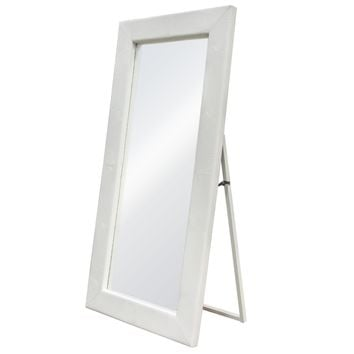 Luxe Free-Standing Mirror w/ Locking Easel Mechanism in White Croc PU