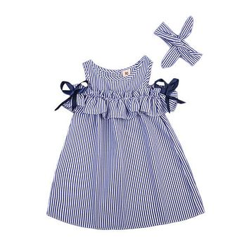 Sleeveless Striped Party Loose  Ruffle Dresses