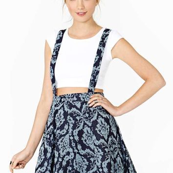 Denim Jacquard Suspender Skirt