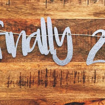 Finally 21 | 21st Birthday | 21st Birthday Decor | 21st Birthday Banner | Silver 21st Birthday | 21st Birthday Decor