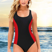 Mixed Colors Red And Black Mixed Color One Piece Swimsuit