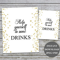 Help Yourself To Drinks Gold Drink Sign Printable Food Table Sign Bridal shower signs, Baby Shower Signage, Printable Instant Download (v35)