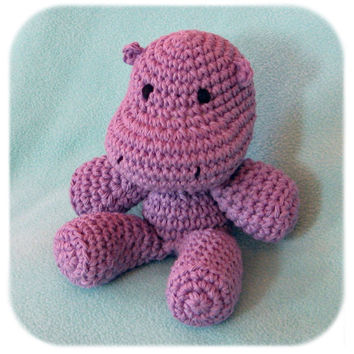 purple plush hippo crochet stuffed animal handmade cotton yarn amigurumi