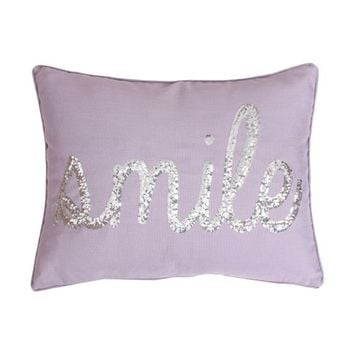 """Smile"" Sequined Purple Script Faux Linen Pillow"