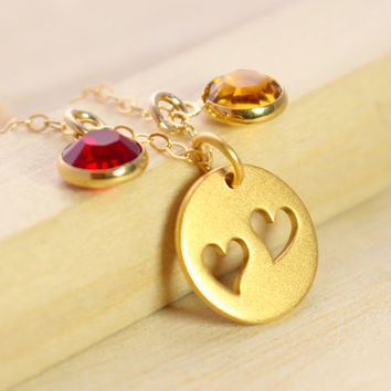Mother's Necklace with Swarovski Birthstones - Gold Mothers Necklace - Mother's Heart Necklace - Birthstone Necklace - Cut Out Hearts