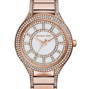 DCCKU7Q Michael Kors Ladies Kerry Glitz MOP Dial Rosegold Stainless Steel Watch MK3313