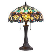 "CHLOE Lighting KENDALL Tiffany-style 2 Light Victorian Table Lamp 16"" Shade"