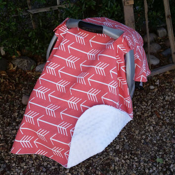 Baby Car Seat Cover - Baby Car Seat Canopy - Coral and White Canopy - Arrow Canopy - Tribal Canopy - Baby Canopy Girls  - Baby Shower Gift