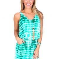 Let The Sunshine In Green Tie Dye Romper | Monday Dress Boutique