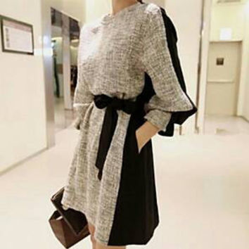 Gray and Black Belted Mini Dress for Fall