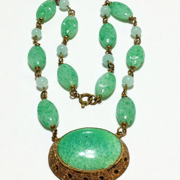 Vintage Art Deco Beaded Necklace, Peking Glass, Brass, Pendant, Green, 1920s, 1930s