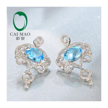 14KT White Gold 7x9mm Oval Cut 4.52ct Natural Flawless Blue Topaz & Diamond Charming Earrings