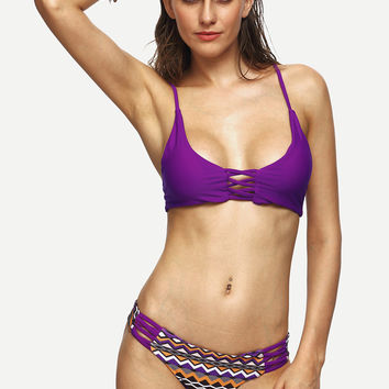 Purple Chevron Print Bikini Set
