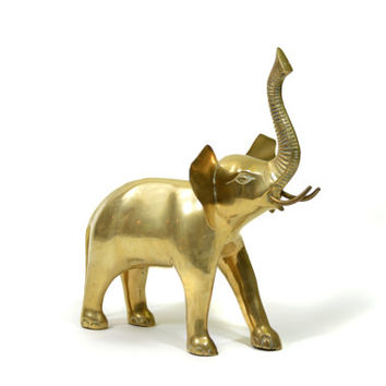 Large Beautiful Brass Elephant Sculpture Large Solid Heavy Big Brass Good Luck Elephant Indian Ganesh Ganesha Hindu Success Statue Sculpture
