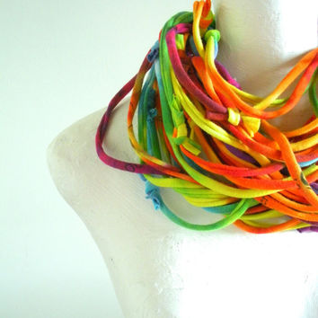 Rainbow Infinity Scarf Spring Fashion Multicolor Loop Scarf Hand Dyed Eco Friendly Upcycled Clothing Urban Gypsy Boho Spring Fashion