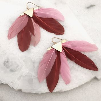 Feathers Fan Earrings - Pink