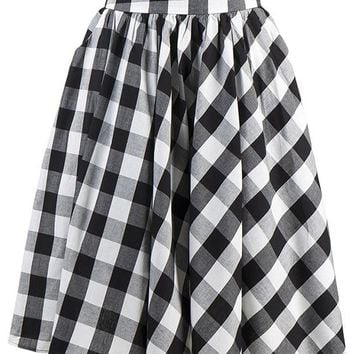 Atomic Classic Black Plaid Skater Skirt