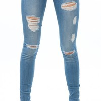 ANGL | Light Wash Destroyed Skinny Jeans