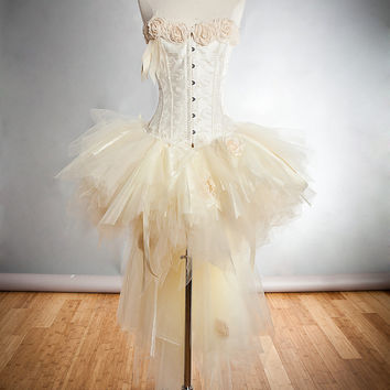 Custom Size Ivory vintage inspired Burlesque tulle organza ribbon rose Corset Dress small-XL