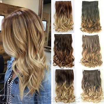 """24"""" 60cm Curly Wavy 3/4 Full Head Clip in Hair Extensions Ombre Hairpiece"""