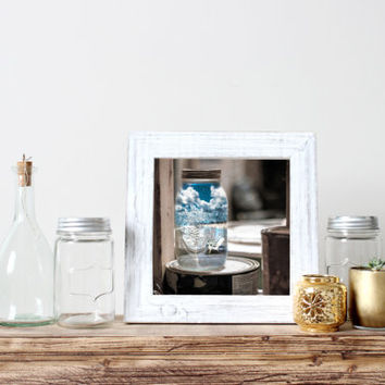 Square surreal print, summer in mason jar, fine art photography, ocean beach, clouds, blue sky, unique original eclectic wall art home decor