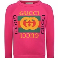 GUCCI trendy classic letter LOGO turtleneck sweater F Rose Red