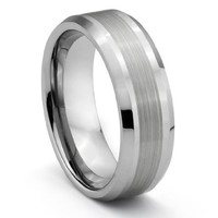 8MM Tungsten Carbide Brushed Silver Mens Wedding Band Ring (Available Sizes 7-14 Including Half Sizes)