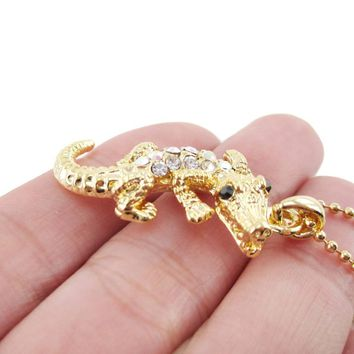Rhinestone Crocodile Shaped Alligator Pendant Necklace in Gold | DOTOLY