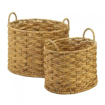 Natural Water Hyacinth Oval Basket Sets