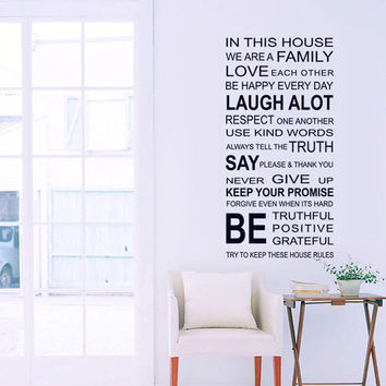In this house we are family quotes wall sticker living room bedroom Love Each Other Wall Decal Home decor decoration
