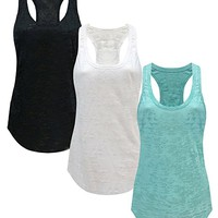 Tough Cookie's Women's Plain Burnout Racerback Workout Tank Tops
