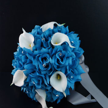 17pc Real touch Calla lily Malibu Turquoise rose bouquet boutonniere corsages