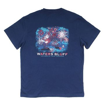 Van Gogh 4th Simple Pocket Tee in Navy by Waters Bluff