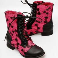 Iron Fist Bowed Over Combat Boot - Pink - Punk.com