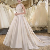Champagne A-line Wedding Dress