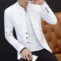 HO 2018 Men 's casual collar collar suit youth handsome trend Slim print suit